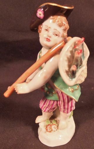 "Antique Meissen Porcelain Figure Of A Cherub / Putti Fishmonger 3 3/4 "" High"