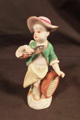 "Antique Meissen Porcelain Figure Of A Cherub / Putti Girl Fishmonger 3 1/2 "" High"