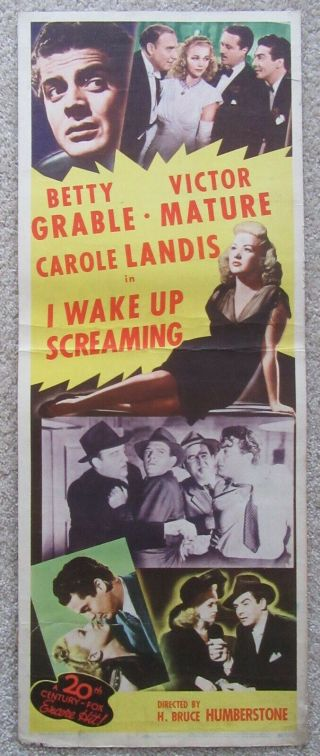 I Wake Up Screaming R48 Insrt Movie Poster Rdl Betty Grable Vg
