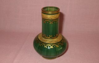 Antique 19th C Loetz Austria Art Glass Malachit Green Malachite Cabinet Vase 4 ""