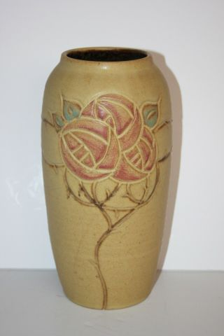 Scott Draves/door Pottery - Signed Arts & Crafts Style Clay Vase - Roses