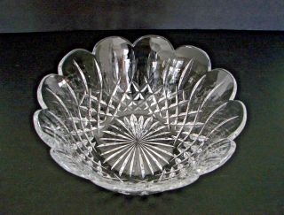 "Lismore By Waterford Crystal Cut Glass Scalloped Round Bowl 9 1/4 "" Ireland Sign"