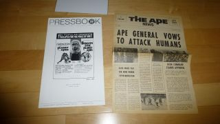 Planet Of The Apes & Beneath Planet Of Apes 1971 Press Book W/ Ape News