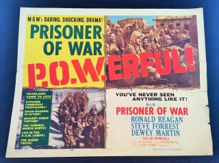1954 Prisoner Of War Movie Poster 22 X 28 Ronald Reagan Style A