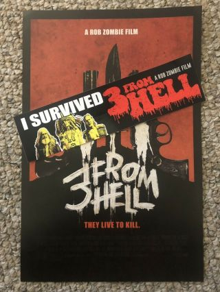 Rob Zombie' 3 From Hell Bumper Sticker And Poster Set Movie Giveaway Rare