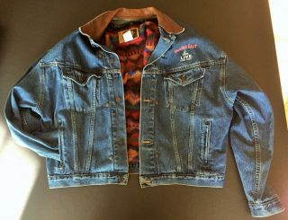 """John Candy Wagons East """" Promotional """" Wool Lined Denim Jacket (xl - Never Worn)"""