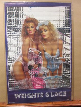 Vintage 1986 Weights & Lace Hot Girls Poster Man Cave 8055