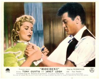 Houdini Lobby Card 1953 Tony Curtis Janet Leigh Trying On Handcuffs