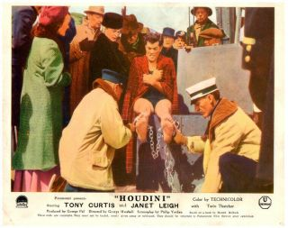 Houdini Lobby Card 1953 Tony Curtis Chained Magic Trick Classic