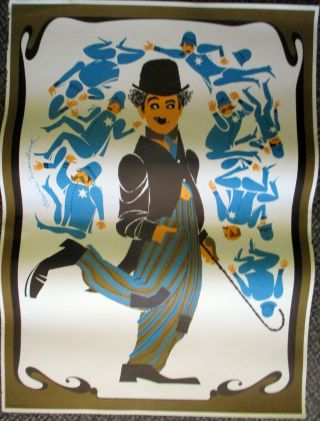 Charlie Chaplin 1968 Psychedelic Mod 1930s Movie Star Poster By Elaine Havelock