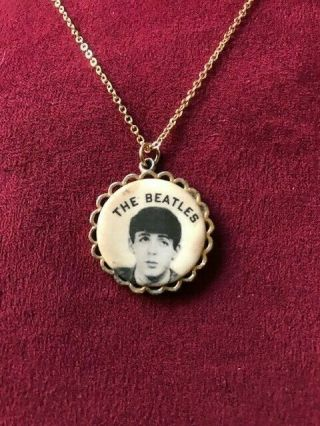 Vintage 1964 The Beatles (paul Mcmartney) Pendant Necklace By Nems Ent.  Ltd.
