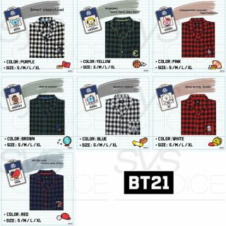 Bts Bt21 Official Authentic Goods Flannel Check Pajamas Sleepwear,  Tracking