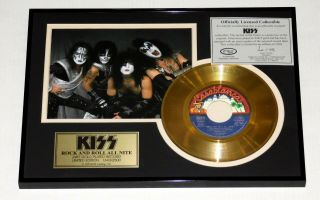 """Kiss Band Rock And Roll All Nite 7 """" 45 Gold Record Award Plaque Official 1999"""