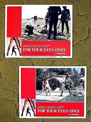 "Set Of 8 Lobby Cards - - Roger Moore (007) James Bond - - "" For Your Eyes Only"