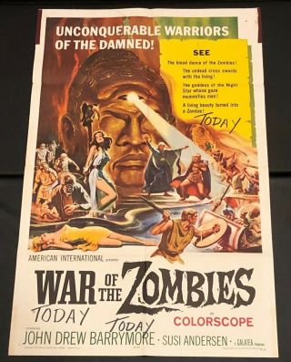 "War Of The Zombies 27 "" X 41 "" Ss/folded Movie Poster - 1965"