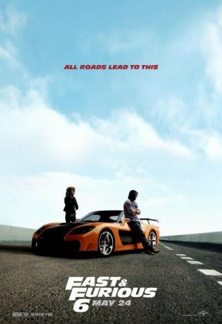 Fast & Furious 6 Movie Poster Version D Single Sided 24x36
