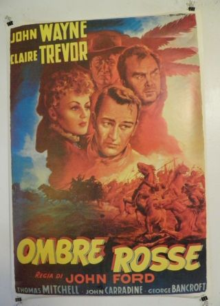 John Wayne Stagecoach Ombre Rosse Ballester Italian Poster 26 By 38 60