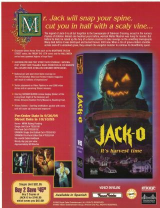 Jack O Vhs Press Kit - Rare Cult1995 Horror - Linnea Quigley Pic - 3 Pics,  Synopsis - Vf,