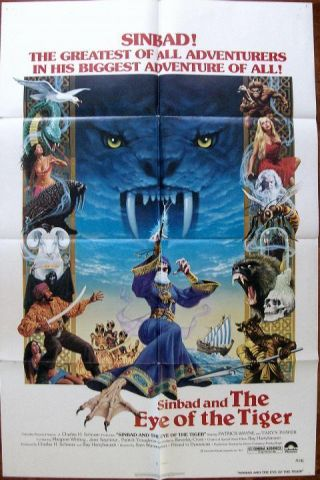 Ray Harryhausen Sinbad And The Eye Of The Tiger Orig Us One Sheet Poster