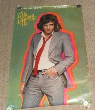 Eddie Money Playing For Keeps Huge 1980 Promo Poster Vintage Rare 48x31