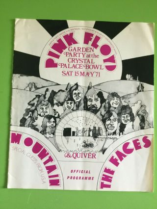 Pink Floyd Crystal Palace Bowl Orig.  Concert Programme 1971 Rare Faces Mountain