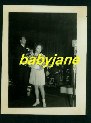 Shirley Temple Vintage 4x5 Photo On Stage Receives Basket Of Flowers Cbs Radio