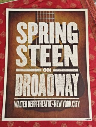 Last Ones Bruce Springsteen On Broadway Guitar Poster Nyc Walter Kerr Ltd /4000