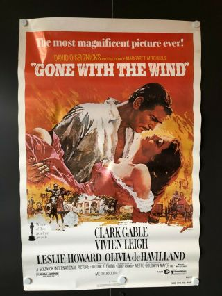 """Gone With The Wind (r1980) - One Sheet Movie Poster - 27 """" X 41 """" - Ex,"""