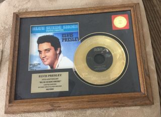 Elvis Presley Gold Record Framed Blue Suede Shoes Limited Collectors Edition