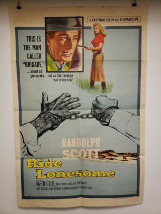 Ride Lonesome One Sheet 1959 Movie Poster Randolph Scott Karen Steele Boetticher
