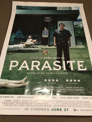 Parasite Movie Poster One Sheet Bong Join Ho
