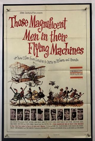 Men Flying Machines Movie Poster (vg) One Sheet 1965 Sarah Miles 3973