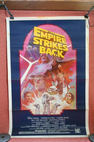 Vintage 1982 Star Wars The Empire Strikes Back Rr Movie Poster Folded