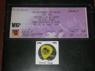 Jimmy Page &the Black Crowes 2000 Vip Ticket & Guitar Pick York Led Zeppelin