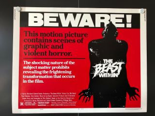 """The Beast Within (1982) - Half Sheet Movie Poster - 28 """" X 22 """" - Nm"""