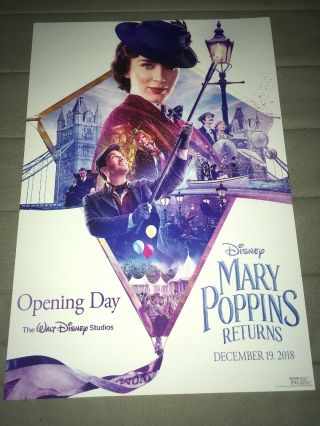 Mary Poppins Returns Movie Cast Member Exclusive Poster Opening Day 19x13 Rare