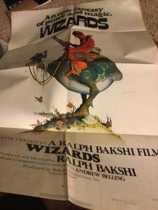 Wizards Bakshi Animated Movie Poster 1977 27x41 A