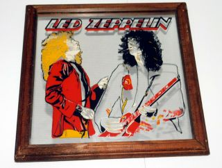 "Led Zeppelin Plant Jimmy Page In Concert 13 "" Vintage Boardwalk Carnival Mirror"