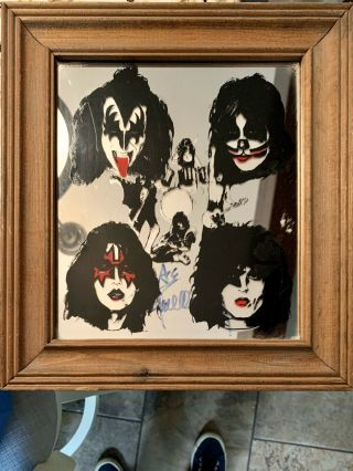 Rare Kiss Mirror Gene Simmons Paul Stanley Ace Frehley Peter Criss Signed By Ace