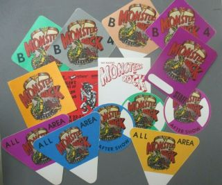 Van Halen Backstage Passes 13,  1 Radio Satin Sticker Monsters Of Rock 1988