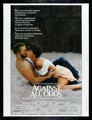 Against All Odds ✯ Cinemasterpieces 30x40 Rare Movie Poster 1984