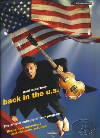 Paul Mccartney 2002 Back U.  S.  Tour Concert Program Tour Book Beatles