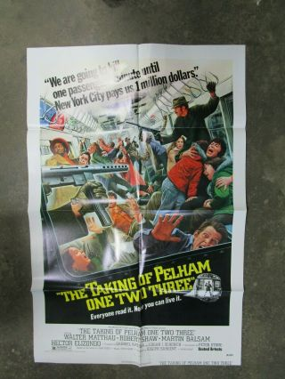 Vintage Movie Poster 1 Sheet The Taking Of Pelham One Two Three 1974