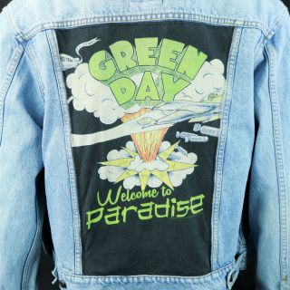 Green Day Levis Denim Jacket Welcome To Paradise Blue Jean Distressed Medium