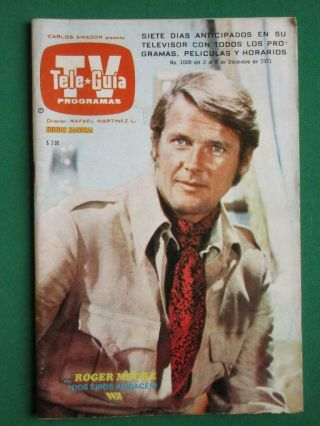1971 Roger Moore The Persuaders Photo Cover Spanish Mexican Tv Guide