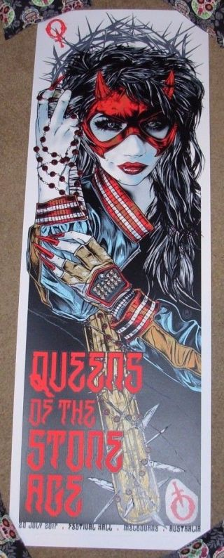 Queens Of The Stone Age Concert Gig Poster Melbourne 7 - 20 - 17 2017 Rhys Cooper