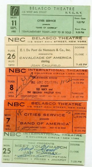 1950s Nbc Television Show Studio Tickets York City Ny (group Of 5)