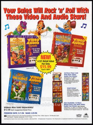 Alvin And The Chipmunks: Sing - Alongs_original 1994 Trade Print Ad / Video Promo