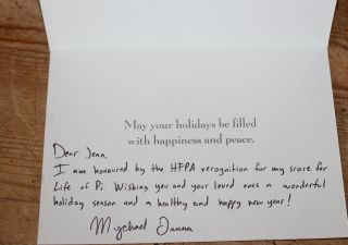 Mychael Danna Hand Signed Autograph Card Letter For Your Consideration 51