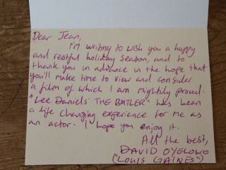 David Oyelowo The Butler Hand Signed Letter Card Thank You Autograph Fyc 5